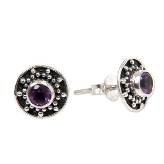 Sterling Silver 'Winter Halo' Amethyst Earrings (Indonesia)