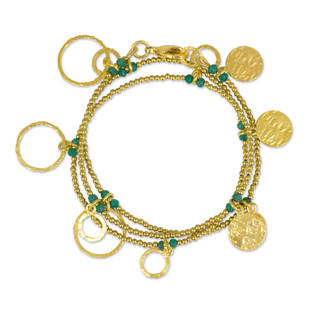 Handmade Gold Overlay 'Retro Eclipse' Chalcedony Bracelet (Thailand)
