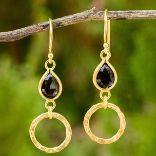 Gold Overlay 'Golden Legacy' Smoky Quartz Earrings (Thailand)