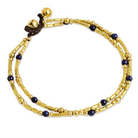 Handmade Brass Golden Bell Lapis Lazuli Anklet (Thailand)