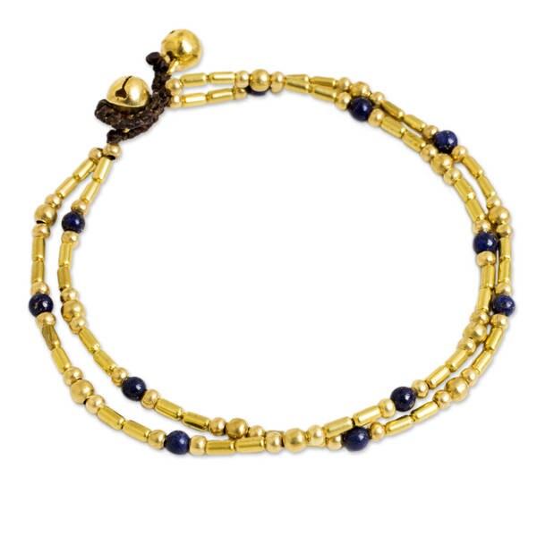 Handmade Brass 'Golden Bell' Lapis Lazuli Anklet (Thailand)