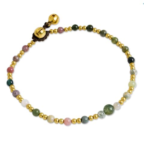 Handmade Brass 'Cheerful Walk' Agate Anklet (Thailand)