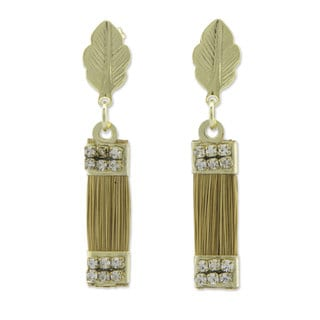 Gold Overlay 'Golden Leaves' Golden Grass Earrings (Brazil)