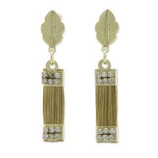 Gold Overlay 'Golden Leaves' Golden Grass Earrings (Brazil)