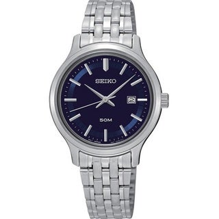 Seiko Women's SUR797 Stainless Steel Navy Blue Dial Watch