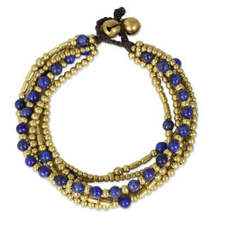 Handcrafted Brass 'Blue Freedom' Lapis Lazuli Bracelet (Thailand)