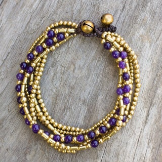 Handcrafted Brass 'Purple Freedom' Quartz Bracelet (Thailand)