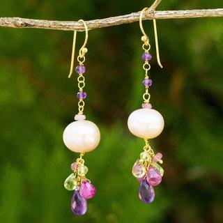 Handmade Gold Overlay 'Tulip Dew' Pearl Multi-gems Earrings (12 mm) (Thailand)