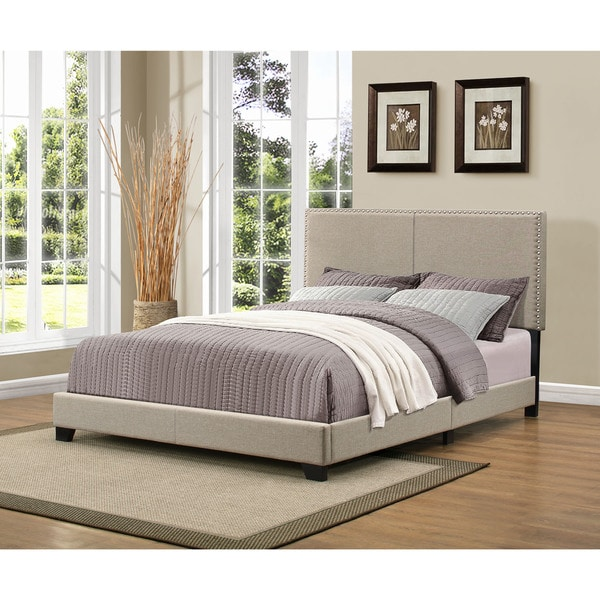 handy living christie grey upholstered queen bed with nail head trim