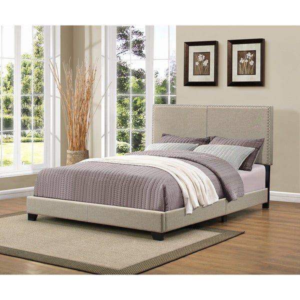 Handy Living Christie Grey Upholstered Queen Bed with Nail Head
