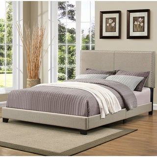 Portfolio Christie Grey Upholstered Queen Bed with Nail Head Trim