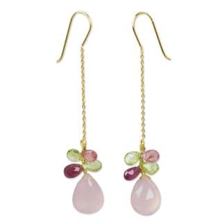 Handmade Gold Overlay 'Pink Siam' Chalcedony Tourmaline Earrings (Thailand)