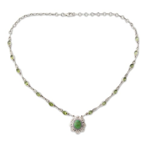 Handmade Sterling Silver 'Woodland Halo' Peridot Turquoise Necklace (India)
