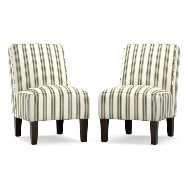 Handy Living Jules Blue And White Stripe Armless Chair (Set Of 2)