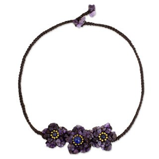 Amethyst Lapis Lazuli 'Bearing Blossoms' Necklace (Thailand)