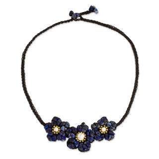 Lapis Lazuli Calcite 'Bearing Blossoms' Necklace (Thailand)