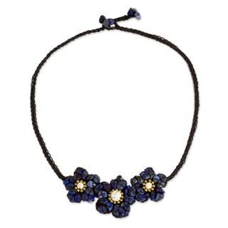 Handmade Lapis Lazuli Calcite 'Bearing Blossoms' Necklace (Thailand)