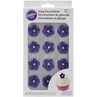 Royal Icing Decorations Purple Posy