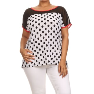 MOA Collection Women's Plus Size Polka Dot Print Top
