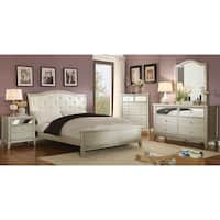 Silver Orchid Gerrard Modern 4-piece Crocodile Silver Bedroom Set