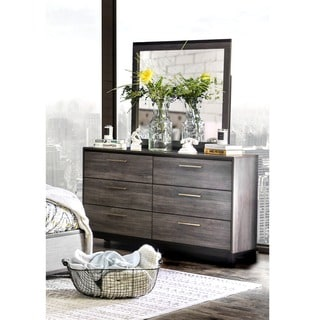 Furniture of America Silvine Contemporary 2-piece Antique Grey Dresser and Mirror Set