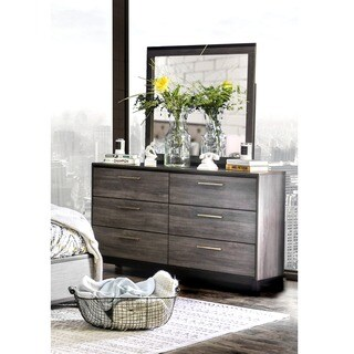 Furniture of America Silvine Antique Grey Dresser and Mirror Set