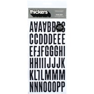 Thickers Chipboard Glitter Stickers 6inX11in Sheets 2/PkgShoe Box  Black