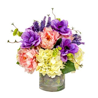 Colorful Anemone, Hydrangea, & Peony Arrangement In Acrylic Water Filled Vase