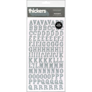 Thickers Chipboard Glitter Stickers 6inX11in Sheets 2/PkgRockabye  Silver