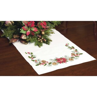 Stamped Cross Stitch Table Runner 15inX44inChristmas Greens