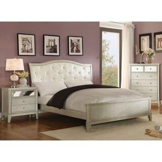 Furniture Of America Divenna Modern 3 Piece Crocodile Silver Bedroom Set