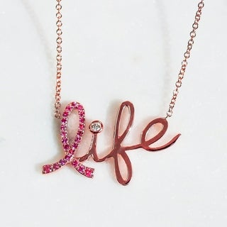 Annello 14k Rose Gold Breast Cancer Awareness Pink Sapphire and Diamond Accent 'Life' Signature Necklace (G-H, I1-I2)