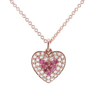 Annello by Kobelli 14k Rose Gold Breast Cancer Awareness Pink Sapphire and 1/5ct TDW Diamond Heart N