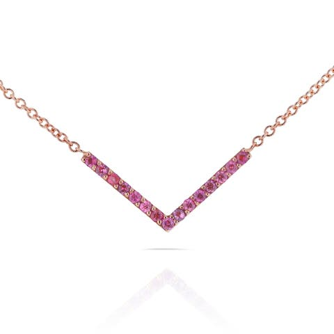Annello by Kobelli 14k Rose Gold Breast Cancer Awareness 1/6ct TCW Pink Sapphire V-Shaped Chevron Ne