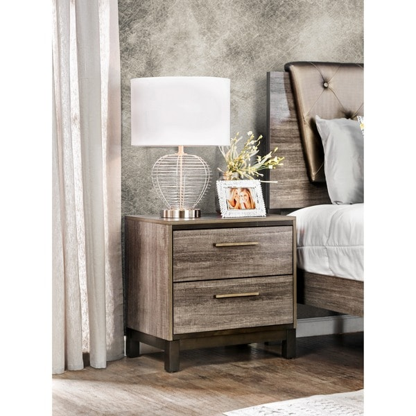 Silvine Contemporary Antique Grey 2-drawer Nightstand by FOA