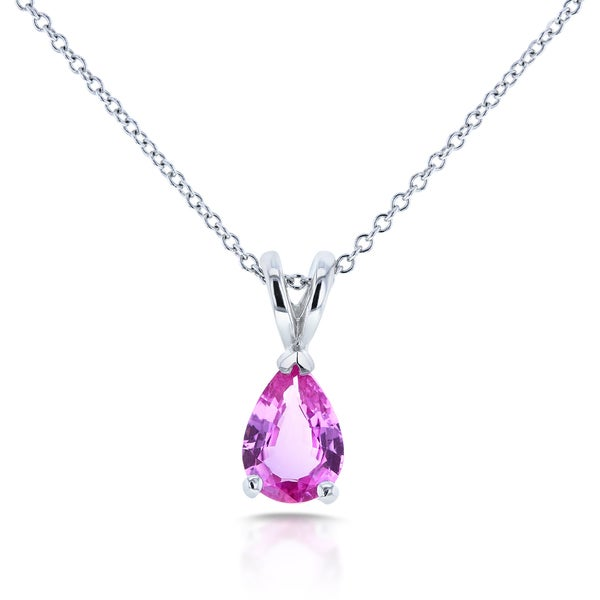 Annello by Kobelli 14k White Gold Breast Cancer Awareness Pear Pink