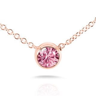 Annello by Kobelli 14k Rose Gold Breast Cancer Awareness 1/5ct Pink Sapphire Bezel Necklace