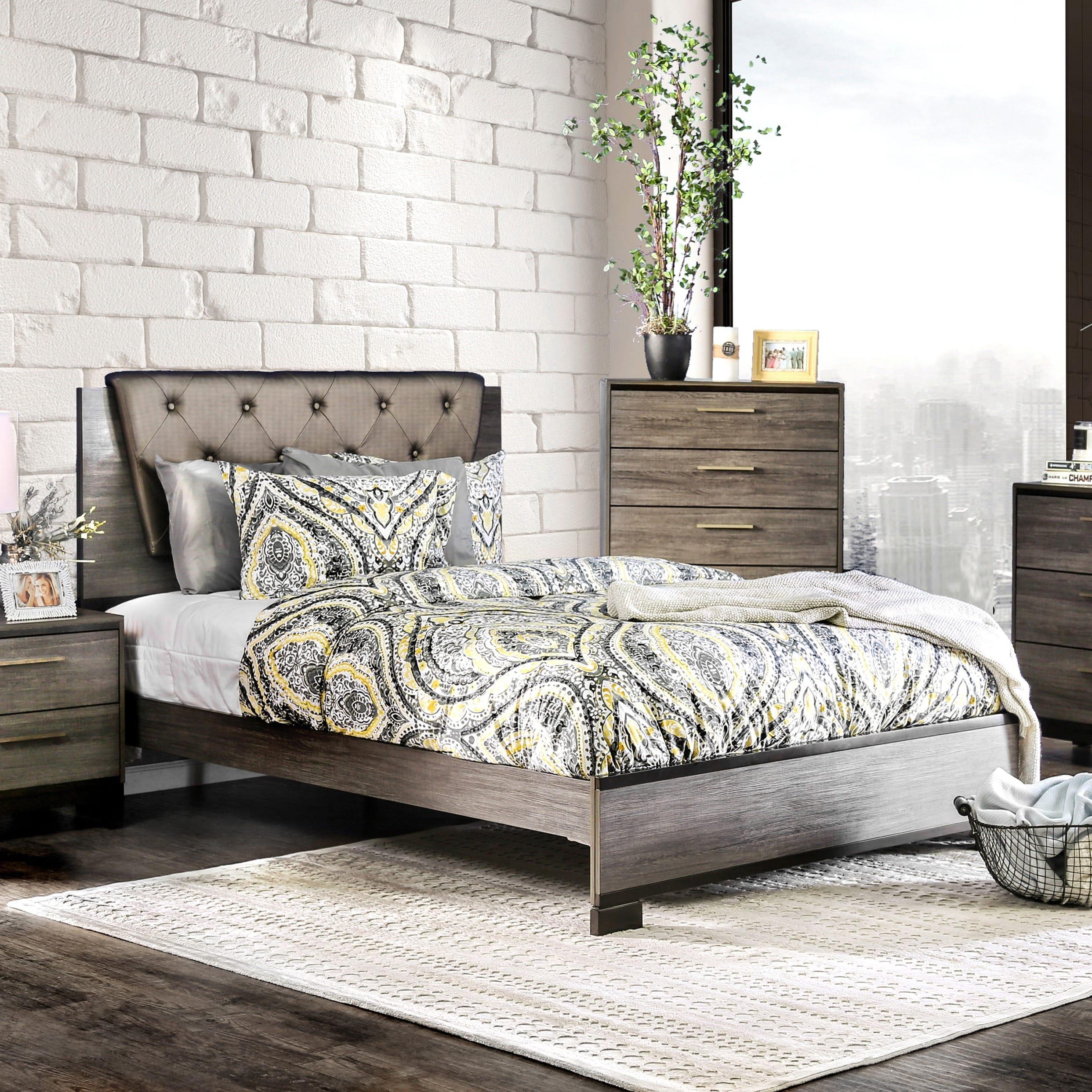 Furniture of America Silvine Contemporary Antique Grey Be...