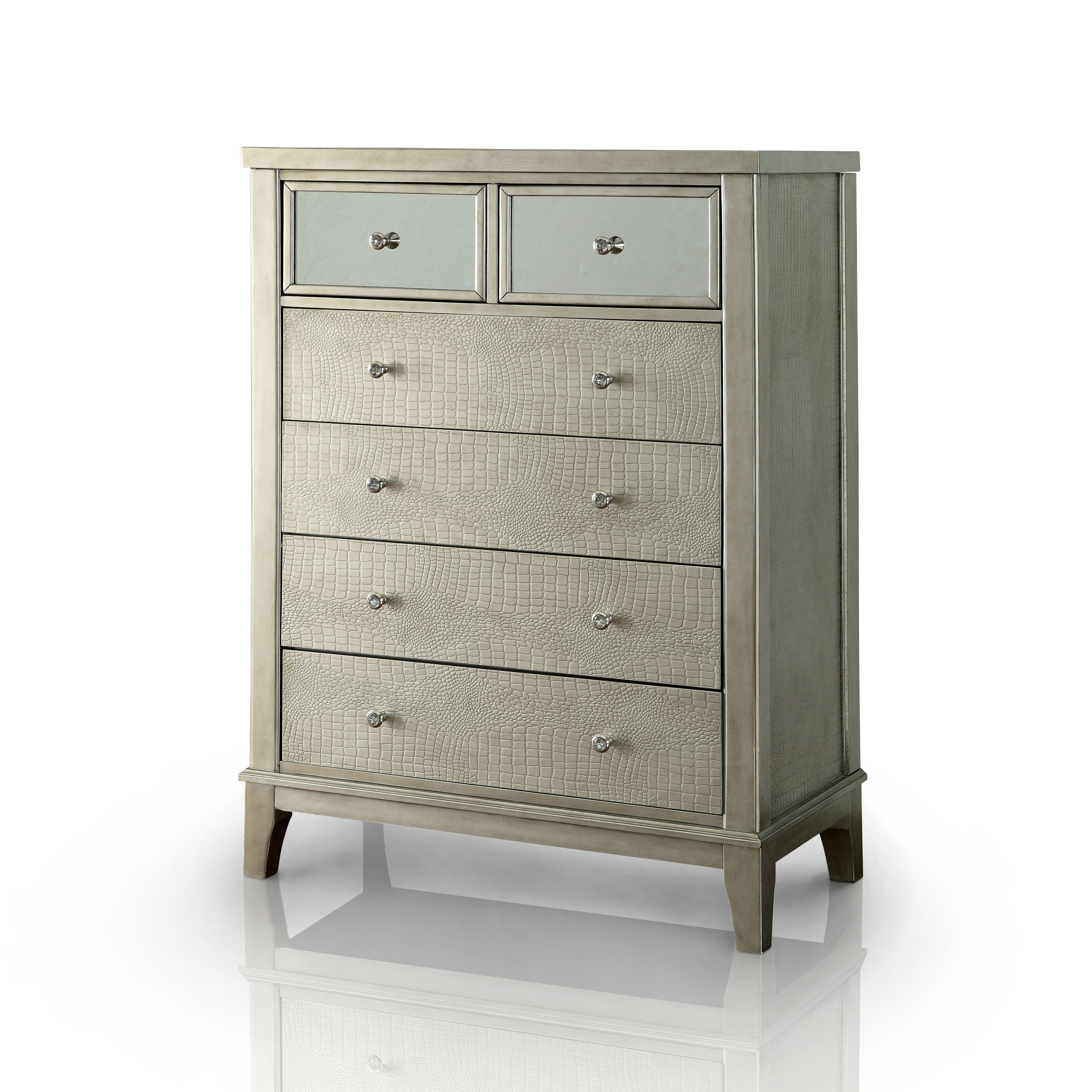 Shop furniture of america divenna modern crocodile silver beige 6 drawer chest free shipping on orders over 45 overstock com 10571132
