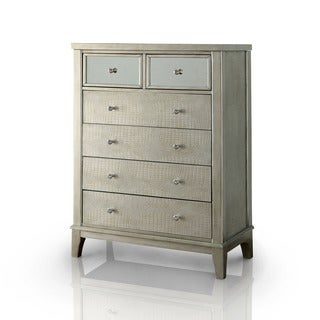 Furniture of America Divenna Modern Crocodile Silver Beige 6-drawer Chest