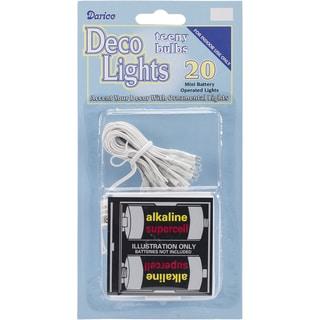 Deco Lights Battery Operated Teeny Bulbs 20 BulbsClear Lights, White Cord