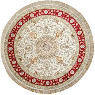 Herat Oriental Indo Hand-Knotted Kashmiri Ivory/ Red Silk Round Rug (6' x 6')