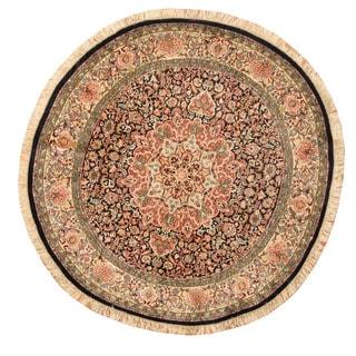 Herat Oriental Indo Hand-Knotted Kashmiri Navy/ Ivory Silk Round Rug (6' x6')