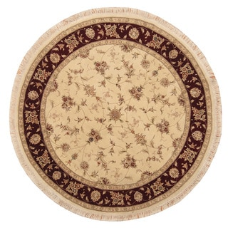 Herat Oriental Indo Hand-Knotted Tabriz Ivory/ Burgundy Wool/ Silk Round Rug (6' x 6')