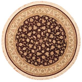 Herat Oriental Indo Hand-Knotted Tabriz Wool/ Silk Round Rug (7' x 7')