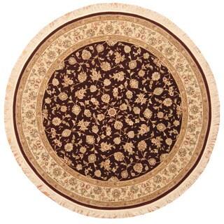 Herat Oriental Indo Hand-Knotted Tabriz Wool/ Silk Round Rug - 7' x 7'