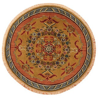 Herat Oriental Afghan Hand-Knotted Vegetable Dye Oushak Gold/ Light Blue Wool Round Rug (6' x 6')