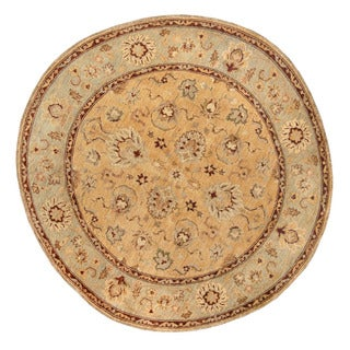 Herat Oriental Afghan Hand-Knotted Vegetable Dye Oushak Gold/ Light Green Wool Round Rug (6' x 6')
