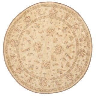 Herat Oriental Afghan Hand-knotted Vegetable Dye Oushak Wool Round Rug (6'8 x 6'8)