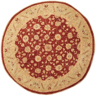 Herat Oriental Afghan Hand-Knotted Vegetable Dye Oushak Red/ Light Green Wool Round Rug (7'1 x 7'1)